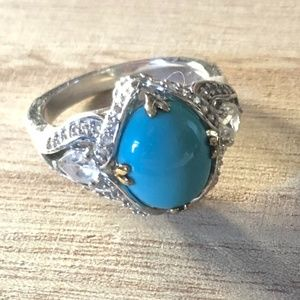 Genuine Sterling Silver and Turquoise Ring, Size 9
